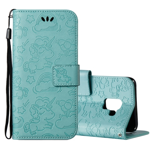 Buy For Samsung Galaxy A8+, 2018 Pressed Horse Cloud Print Horizontal Flip Leather Case with Holder & Card Slots & Wallet & Lanyard, Green for $2.92 in SUNSKY store