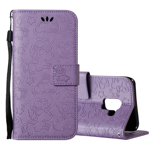 Buy For Samsung Galaxy A8+, 2018 Pressed Horse Cloud Print Horizontal Flip Leather Case with Holder & Card Slots & Wallet & Lanyard, Purple for $2.92 in SUNSKY store