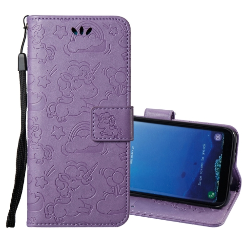 Buy For Samsung Galaxy S8 + / G955 Pressed Horse Cloud Print Horizontal Flip Leather Case with Holder & Card Slots & Wallet & Lanyard, Purple for $2.92 in SUNSKY store