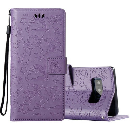 Buy For Samsung Galaxy Note 8 Pressed Horse Cloud Print Horizontal Flip Leather Case with Holder & Card Slots & Wallet & Lanyard, Purple for $2.92 in SUNSKY store