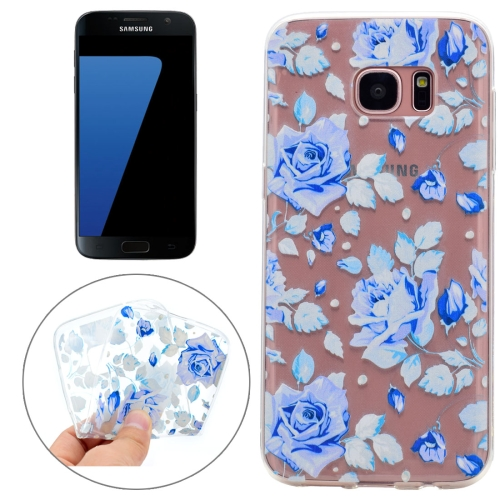 Buy For Samsung Galaxy S7 Colorful Blue Flower Pattern TPU Protective Case for $1.10 in SUNSKY store