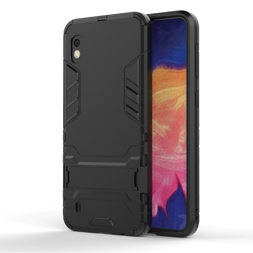 Shockproof PC + TPU Case for Galaxy A10, with Holder (Black)