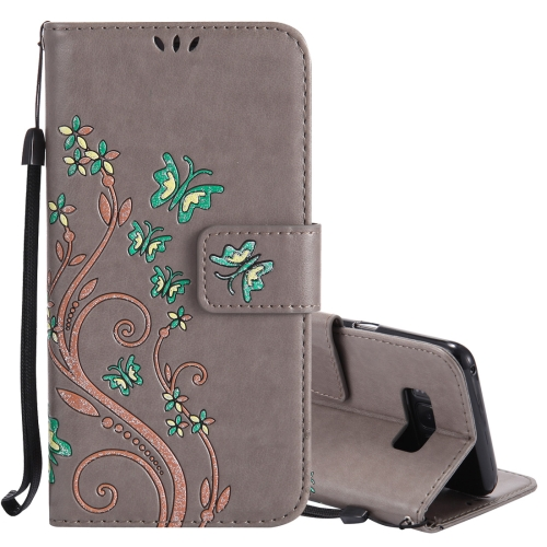 For Samsung Galaxy S8 Active Pressed Flowers Butterfly Pattern Horizontal Flip Leather Case with Holder & Card Slots & Wallet & Lanyard, Grey