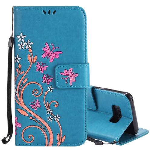 Buy For Samsung Galaxy S8 Active Pressed Flowers Butterfly Pattern Horizontal Flip Leather Case with Holder & Card Slots & Wallet & Lanyard, Blue for $2.65 in SUNSKY store