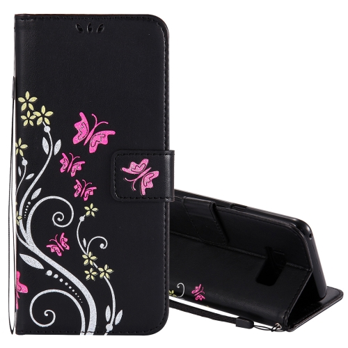 Buy For Samsung Galaxy S8+ / G9550 Active Pressed Flowers Butterfly Pattern Horizontal Flip Leather Case with Holder & Card Slots & Wallet & Lanyard, Black for $2.53 in SUNSKY store
