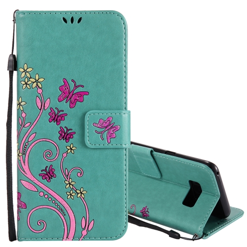 Buy For Samsung Galaxy S8+ / G9550 Active Pressed Flowers Butterfly Pattern Horizontal Flip Leather Case with Holder & Card Slots & Wallet & Lanyard, Green for $2.53 in SUNSKY store