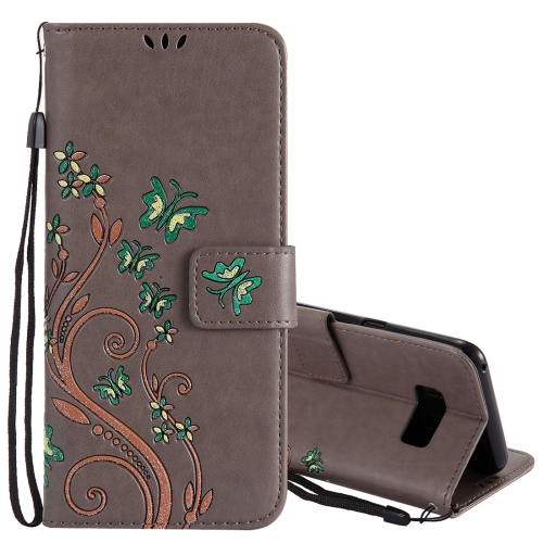 Buy For Samsung Galaxy S8+ / G9550 Active Pressed Flowers Butterfly Pattern Horizontal Flip Leather Case with Holder & Card Slots & Wallet & Lanyard, Grey for $2.53 in SUNSKY store