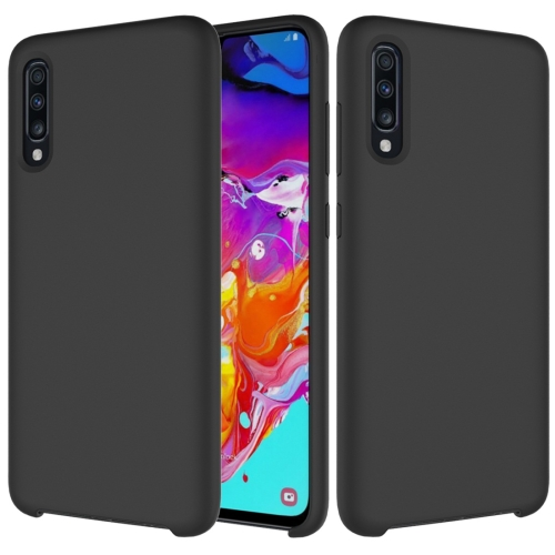 Solid Color Liquid Silicone Dropproof Protective Case for Galaxy A70 (Black)