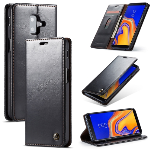 CaseMe-003 PU + PC Business Style Crazy Horse Texture Horizontal Flip Leather Case for Galaxy J6 Plus, with Holder & Card Slots & Wallet (Black)