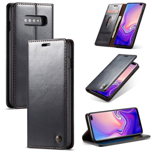 CaseMe-003 PU + PC Business Style Crazy Horse Texture Horizontal Flip Leather Case for Galaxy S10 Plus, with Holder & Card Slots & Wallet (Black)