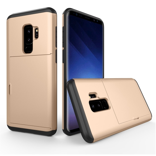 Buy For Samsung Galaxy S9+ Detachable TPU + PC Dropproof Protective Back Cover Case with Card Slot, Gold for $2.28 in SUNSKY store