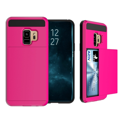 For Samsung Galaxy S9 Detachable Dropproof Protective Back Cover Case with Slider Card Slot, Magenta
