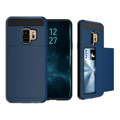 Buy For Samsung Galaxy S9 Detachable Dropproof Protective Back Cover Case with Slider Card Slot (Navy Blue) for $2.28 in SUNSKY store