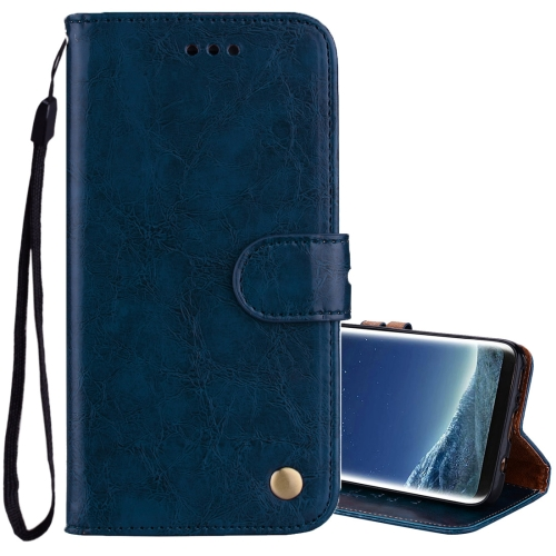 For Sumsung Galaxy S8 + Business Style Oil Wax Texture Horizontal Flip Leather Case with Holder & Card Slots & Wallet, Blue