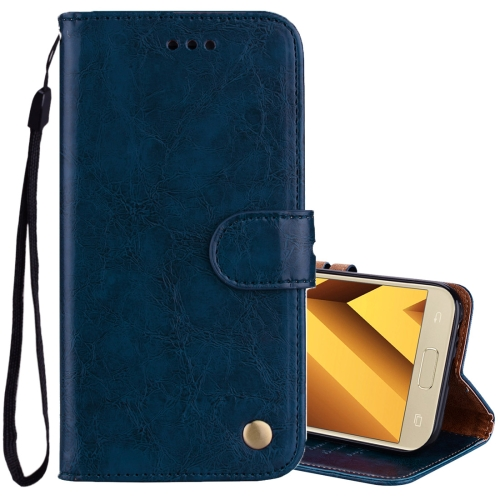 Buy For Sumsung Galaxy A3, 2017 Business Style Oil Wax Texture Horizontal Flip Leather Case with Holder & Card Slots & Wallet, Blue for $2.27 in SUNSKY store