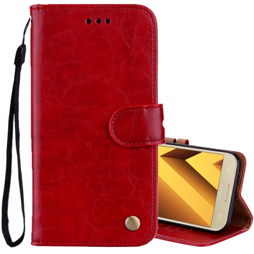 Buy For Sumsung Galaxy A3, 2017 Business Style Oil Wax Texture Horizontal Flip Leather Case with Holder & Card Slots & Wallet, Red for $2.27 in SUNSKY store