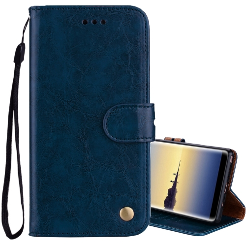 Buy For Sumsung Galaxy Note 8 Business Style Oil Wax Texture Horizontal Flip Leather Case with Holder & Card Slots & Wallet, Blue for $2.30 in SUNSKY store