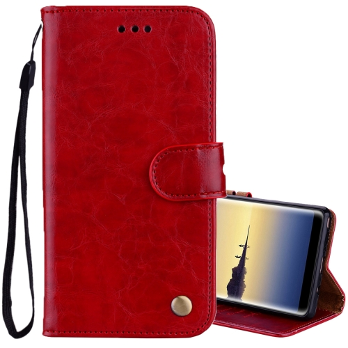 Buy For Sumsung Galaxy Note 8 Business Style Oil Wax Texture Horizontal Flip Leather Case with Holder & Card Slots & Wallet, Red for $2.30 in SUNSKY store