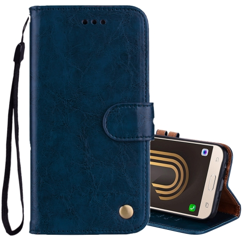 Buy For Sumsung Galaxy J3, 2017 / J330 (EU Version) Business Style Oil Wax Texture Horizontal Flip Leather Case with Holder & Card Slots & Wallet, Blue for $2.44 in SUNSKY store