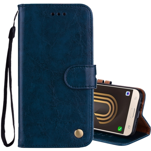 Buy For Sumsung Galaxy J5, 2017 / J530 (EU Version) Business Style Oil Wax Texture Horizontal Flip Leather Case with Holder & Card Slots & Wallet, Blue for $2.44 in SUNSKY store