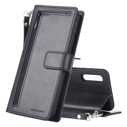 GOOSPERY DETACHABLE DIARY Horizontal Flip Leather Case with Holder & Card Slots & Zipper & Wallet for Galaxy A50(Black)