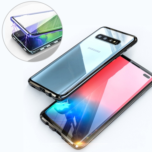 UltUltra Slim Double Sides Magnetic Adsorption Angular Frame Tempered Glass Magnet Flip Case for Galaxy S10+, Screen Fingerprint Unlock Is Not Supported (Black)