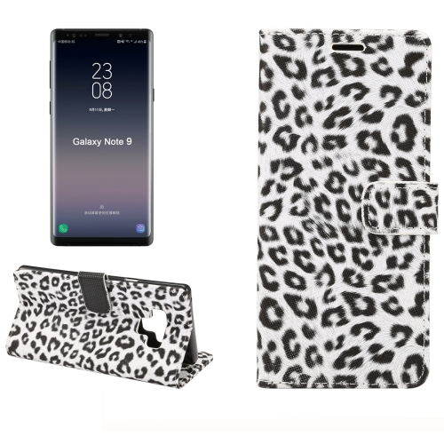 Leopard Pattern Horizontal Flip PU Leather Case for Galaxy Note 9, with Holder & Card Slot & Wallet(White) wallet style checked pattern pu leather case w card holder for samsung galaxy note 3 n9000 black