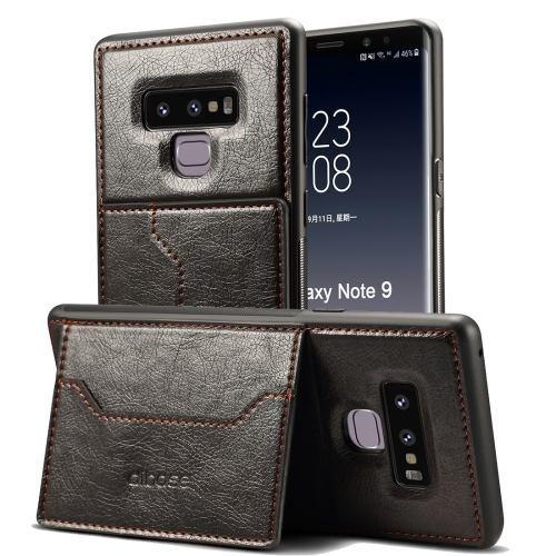 dibase Crazy Horse Texture PU Leather Case for Galaxy Note 9, with Holder & Card Slot(Black) 360 degree rotation pu leather smart case w card slot for samsung galaxy note pro 12 2 p900 black