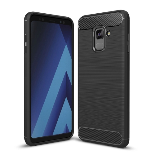 For Galaxy A8 (2018) Brushed Texture Carbon Fiber Shockproof TPU Protective Back Case (Black) rst bc2008 cycling bicycle carbon fiber water bottle holder black