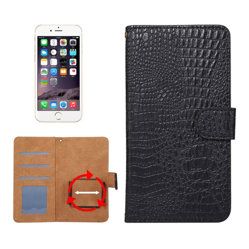 Buy Suitable for 5.5-6.0 Inch Phones, for Samsung Galaxy S8 + / G955 & iPhone 7 Plus & iPhone 6 Plus & Huawei Mate 7 Universal Rotation Clip Crocodile Texture Horizontal Flip Leather Case with Card Slots & Photo Frame, Black for $2.30 in SUNSKY store