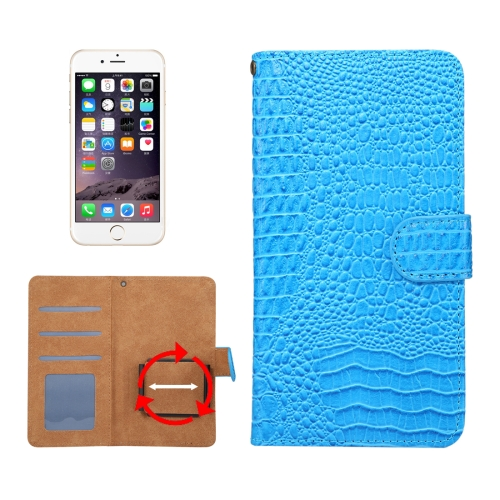 Suitable for 5.5-6.0 Inch Phones, for Samsung Galaxy S8 + / G955 & iPhone 7 Plus & iPhone 6 Plus & Huawei Mate 7 Universal Rotation Clip Crocodile Texture Horizontal Flip Leather Case with Card Slots & Photo Frame, Blue