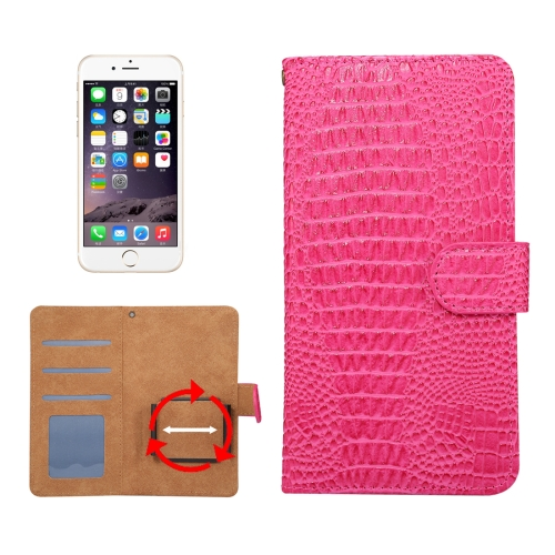Buy Suitable for 5.5-6.0 Inch Phones, for Samsung Galaxy S8 + / G955 & iPhone 7 Plus & iPhone 6 Plus & Huawei Mate 7 Universal Rotation Clip Crocodile Texture Horizontal Flip Leather Case with Card Slots & Photo Frame, Magenta for $2.30 in SUNSKY store