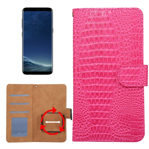 Buy Suitable for 5.3-5.5 Inch Phones, for Samsung Galaxy S8 & S7 Edge & Huawei P9 Plus Universal Rotation Clip Crocodile Texture Horizontal Flip Leather Case with Card Slots & Photo Frame, Magenta for $2.30 in SUNSKY store