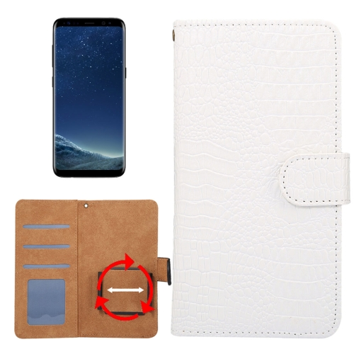 Buy Suitable for 5.3-5.5 Inch Phones, for Samsung Galaxy S8 & S7 Edge & Huawei P9 Plus Universal Rotation Clip Crocodile Texture Horizontal Flip Leather Case with Card Slots & Photo Frame, White for $2.30 in SUNSKY store