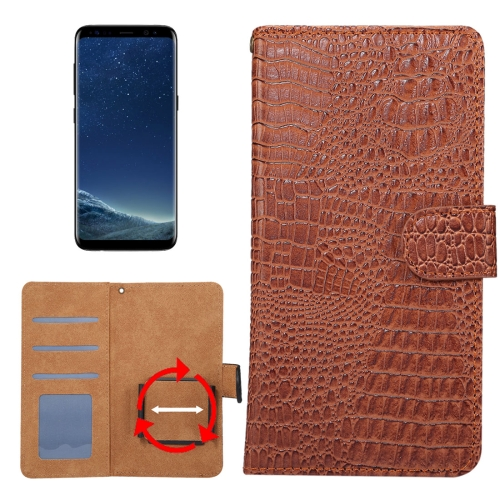 Buy Suitable for 5.3-5.5 Inch Phones, for Samsung Galaxy S8 & S7 Edge & Huawei P9 Plus Universal Rotation Clip Crocodile Texture Horizontal Flip Leather Case with Card Slots & Photo Frame, Brown for $2.29 in SUNSKY store