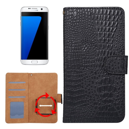 Buy Suitable for 4.8-5.3 Inch Phones, for Samsung Galaxy S7 & S6 Edge & iPhone X & iPhone 7 & Huawei P9 Universal Rotation Clip Crocodile Texture Horizontal Flip Leather Case with Card Slots & Photo Frame, Black for $2.30 in SUNSKY store