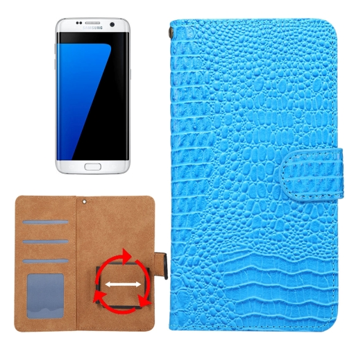 Buy Suitable for 4.8-5.3 Inch Phones, for Samsung Galaxy S7 & S6 Edge & iPhone X & iPhone 7 & Huawei P9 Universal Rotation Clip Crocodile Texture Horizontal Flip Leather Case with Card Slots & Photo Frame, Blue for $2.30 in SUNSKY store