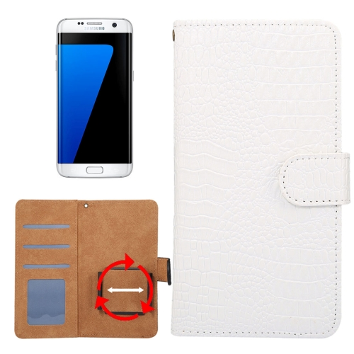 Buy Suitable for 4.8-5.3 Inch Phones, for Samsung Galaxy S7 & S6 Edge & iPhone X & iPhone 7 & Huawei P9 Universal Rotation Clip Crocodile Texture Horizontal Flip Leather Case with Card Slots & Photo Frame, White for $2.30 in SUNSKY store
