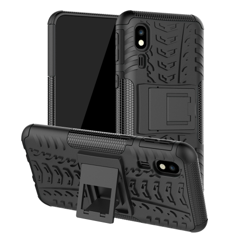 Tire Texture TPU+PC Shockproof Case for Galaxy A2 Core, with Holder (Black)