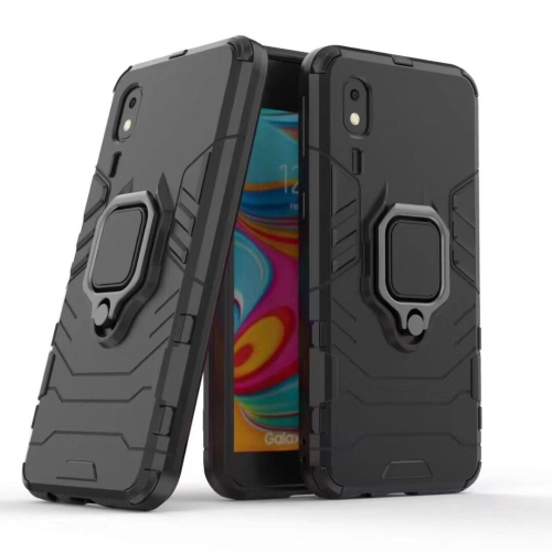 PC + TPU Shockproof Protective Case for Galaxy A2 Core, with Magnetic Ring Holder (Black)