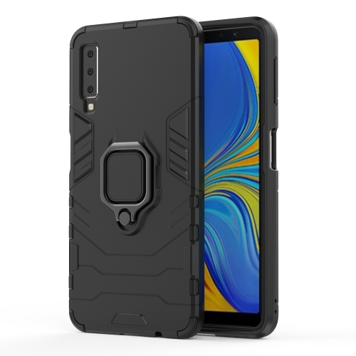 PC + TPU Shockproof Protective Case for Galaxy A70, with Magnetic Ring Holder (Black) фото