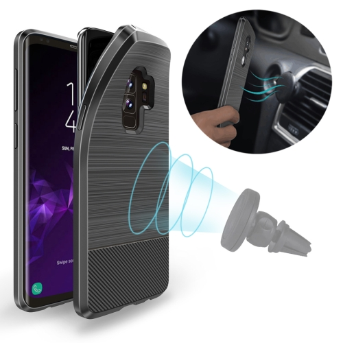 MOJO Shockproof Magnetic Carbon Fiber TPU Case for Galaxy S9+(Black)