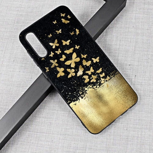 Gold Butterfly Painted Pattern Soft TPU Case for Galaxy A50