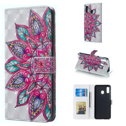 Half Flower Pattern 3D Horizontal Flip Leather Case for Galaxy A30, with Holder & Card Slots & Photo Frame & Wallet