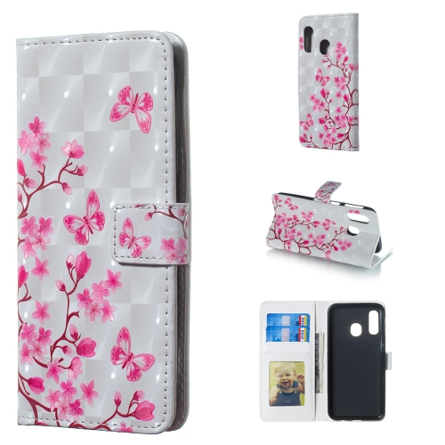 Butterfly Love Flower Pattern 3D Horizontal Flip Leather Case for Galaxy A40, with Holder & Card Slots & Photo Frame & Wallet
