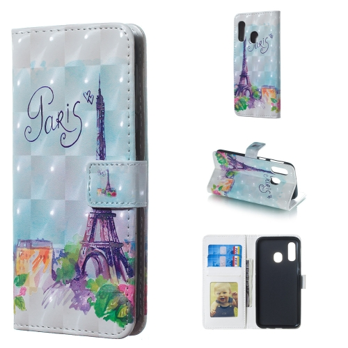 Tower Pattern 3D Horizontal Flip Leather Case for Galaxy A40, with Holder & Card Slots & Photo Frame & Wallet