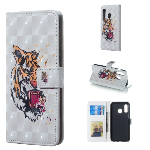 Tiger Pattern 3D Horizontal Flip Leather Case for Galaxy A40, with Holder & Card Slots & Photo Frame & Wallet