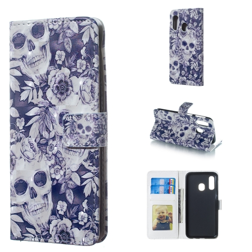 Skull and Flower Pattern 3D Horizontal Flip Leather Case for Galaxy A40, with Holder & Card Slots & Photo Frame & Wallet