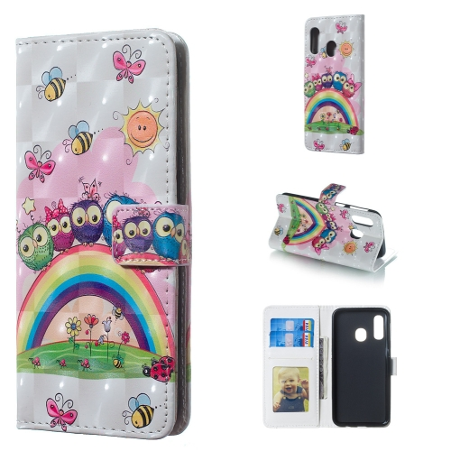 Owl Family Pattern 3D Horizontal Flip Leather Case for Galaxy A40, with Holder & Card Slots & Photo Frame & Wallet