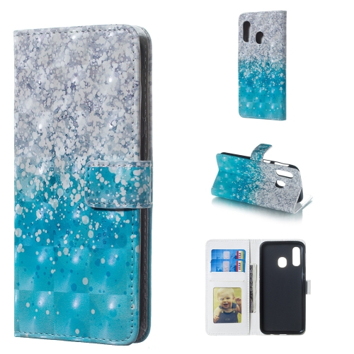 Sea and Sand Pattern 3D Horizontal Flip Leather Case for Galaxy A40, with Holder & Card Slots & Photo Frame & Wallet
